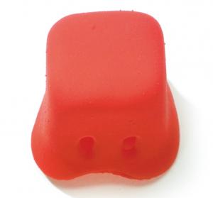 Clownsneus uit gummi vierkant rood