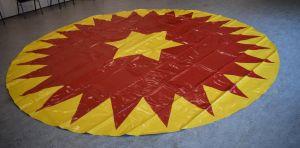Piste kleed | Circuszeil | Diameter 4 meter rood/geel kartelrand