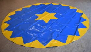 Piste kleed | Circuszeil | Diameter 3 meter blauw/geel kartelrand